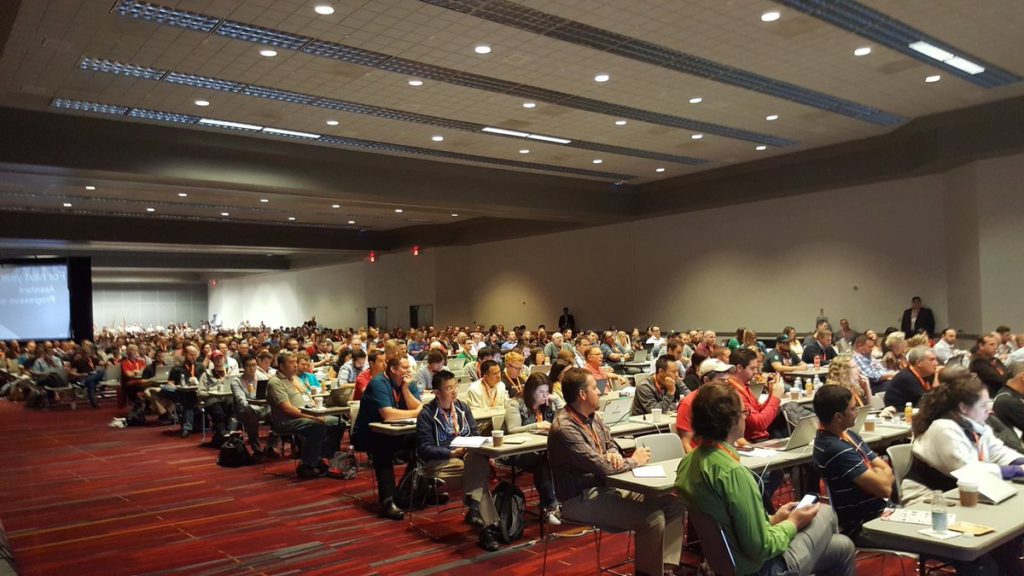 Standing room only for Google's Gary Illyes' Keynote at Pubcon Vegas 2016.